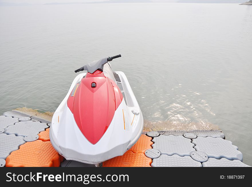 Motorboat by lake