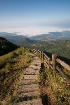 Free Pathway At Viewpoint Of National Park Thailand Royalty Free Stock Image - 18880246
