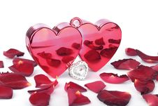 Free Red Heart In Box And Petals On White Stock Photos - 18880513