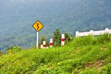 Curve Sign For Road Stock Photography