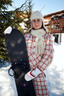 Free Teenage Girl Holding Snowboard Royalty Free Stock Photography - 18881097