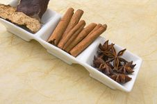 Free Star Anise, Cinnamon Sticks And Tangerine Peel. Stock Image - 18882181