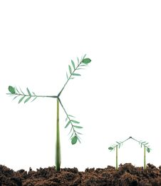 Free Windmill Plant And House Stock Image - 18882301