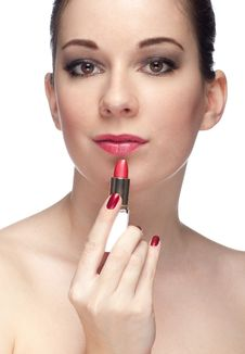 Free Woman With Pink Lipstick Stock Image - 18882571