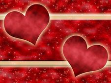 Free Red Background With Hearts Stock Photography - 18882652