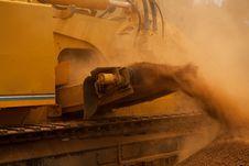 Yellow Trencher Machine Working Stock Image