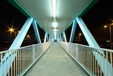 Footbridge With Light Trails In Hong Kong Royalty Free Stock Images