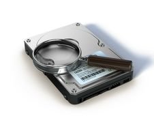 Free HDD And Magnifying Glass Stock Images - 18883784