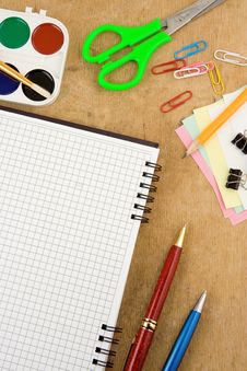 Free School Accessories And Checked Notebook Stock Photography - 18884152