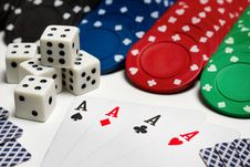 Poker: Cards - Four Aces, Chips And Dices Royalty Free Stock Photo