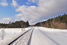 Free Railroad In Winter Forest Stock Image - 18888091