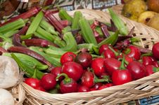 Free Organic Okra And Cherry Peppers Stock Photo - 18889370