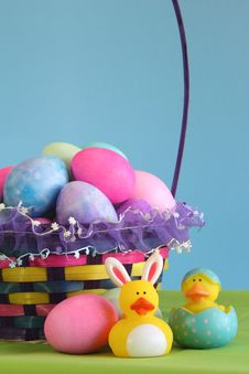 Free Colorful Easter Egg Basket Royalty Free Stock Photo - 18889415