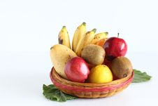 Free Basket Of Fruits On White Stock Images - 18889674