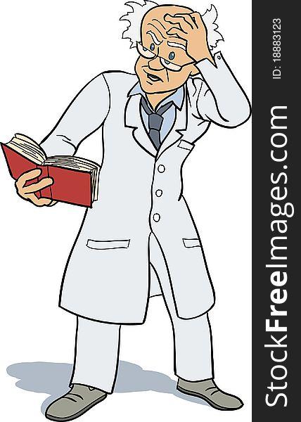 Professor studying book