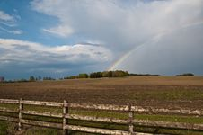 Free Rainbow Over A Farm Field Stock Photo - 18891180