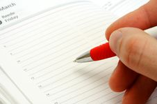 Free Making Some Marks  In The Notebook Stock Image - 18891851