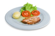 Pork Ham Slice With Vegetables Stock Photography