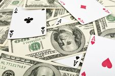 Free Four Aces And 100 Dolars Stock Photo - 18893250