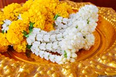 Free Jasmine Garland On Gold Plate Royalty Free Stock Image - 18893706