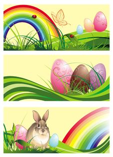 Free Set Of Spring Easter Banners With Rabbit And Eggs Stock Photo - 18893920