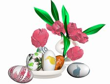 Free Easter Eggs And A Vase With Tulips Stock Image - 18894131