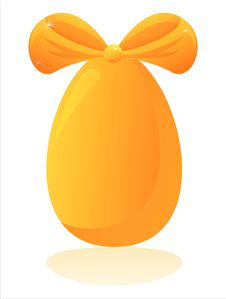 Free Easter Egg With Orange Bow Royalty Free Stock Photos - 18894758