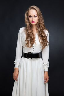 Free Girl In Long White Dress Stock Photos - 18895173
