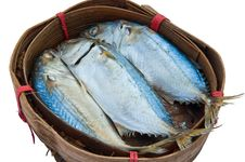 Steamed Mackerel In Bamboo Basket Stock Photo