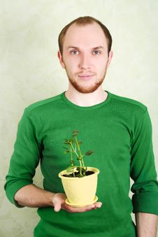 Free Man Holding Yellow Flowerpot With Kalanchoe Plant Royalty Free Stock Image - 18895746