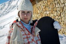 Free Teenage Girl Holding Snowboard Royalty Free Stock Photos - 18896658