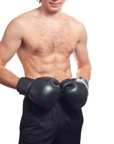 Man Boxer With Black Boxing Gloves Stock Photos