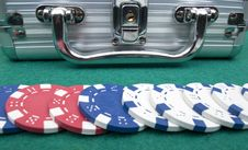 Metal Suitcase And Poker Chips Royalty Free Stock Photo