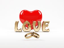 3D Love Text, Heart And Rings Stock Image