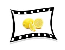 Free A Single Stretched Film Strip With Lemons 3d. Stock Photos - 18899103