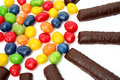 Free Chocolate Sticks With A Cream And The Multi-coloured Sweets Isol Royalty Free Stock Photos - 1892298