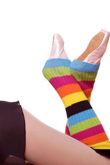 Free Girl S Legs In Colorful Gaiters Stock Photos - 1890243