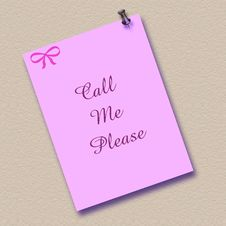 Free Pink Call Me Note Posted Stock Image - 1892491