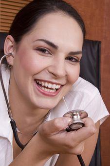Free Woman Doctor Stethoscope Smile Royalty Free Stock Photos - 1895308