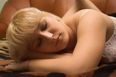 Free Blondy Young Girl Sleeping Royalty Free Stock Photos - 1895478