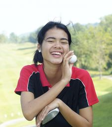 Free Female Golf Player Laughing Stock Photos - 1898013