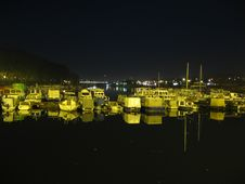 Boats Dreaming At Night Stock Images
