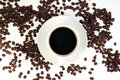 Free Coffee Cup And Coffee Beans On White Background Royalty Free Stock Image - 18900846