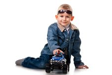 Free Cute Little Boy Playing With Car Stock Images - 18901054
