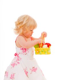 Free Little Girl With Easter Eggs Stock Photography - 18901382