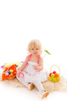 Free Little Girl With Easter Eggs Royalty Free Stock Photo - 18901385