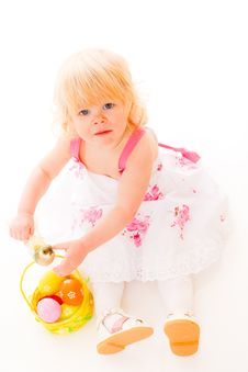 Free Little Girl With Easter Eggs Stock Photography - 18901402