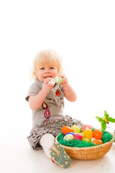 Free Little Girl With Easter Eggs Stock Photos - 18901423