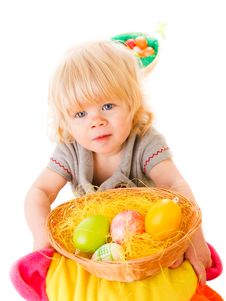 Free Little Girl With Easter Eggs Royalty Free Stock Photography - 18901437