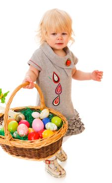 Free Little Girl With Easter Eggs Stock Photos - 18901503